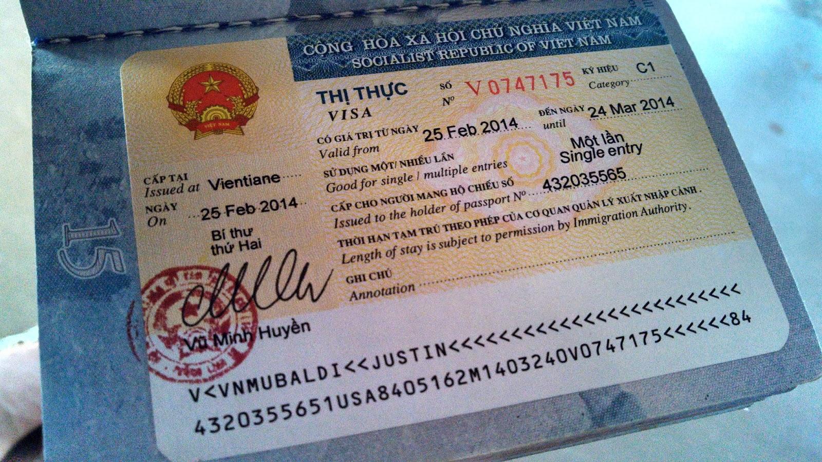 Фото вьетнамской визы