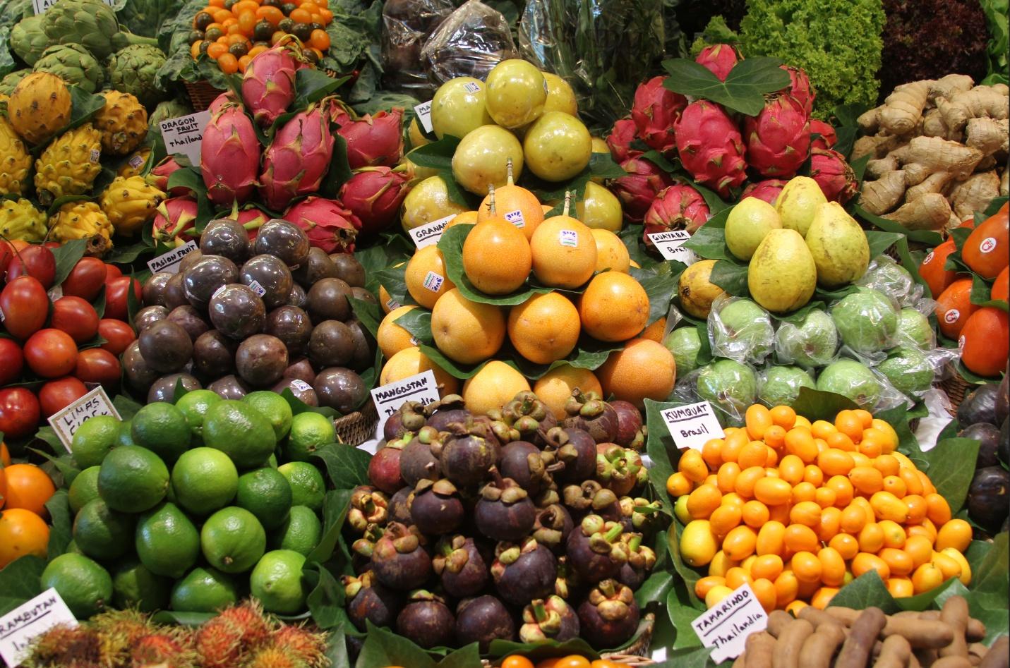 Стоимость фруктов и овощей